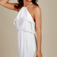 Always Together Ruffle Dress Off White