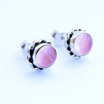 Rose quartz stone stud, Rose quartz Stud earring ,silver stone stud,studs,Rose quartz earrings,silver earring,