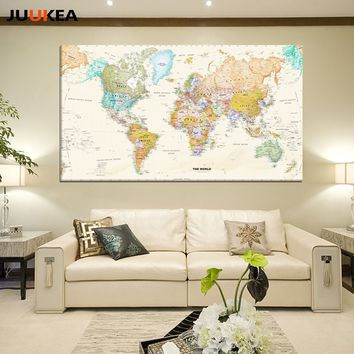 Hot Sale Vintage World Map Canvas Print Painting Poster Wall Pictures For Living Room Home Decor
