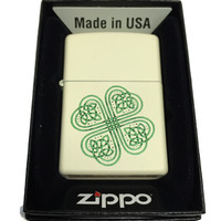 Zippo Custom Lighter - Celtic Shamrock Many Blessings - Regular Cream Matte 216CI401842