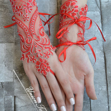 red gloves, Bridal Glove, red lace cuffs, lace gloves, Fingerless Gloves, bridal gloves, Red gloves, Christmas, Christmas gloves, gloves