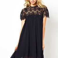 Lydia Bright Swing Dress With Lace Top