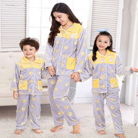 Flannel fabric Parent-child clothing sets Winter coral fleece pajamas Kids soft sleeping clothing family clothes