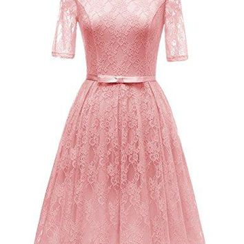 Women's Vintage Floral Lace Short Sleeve Bridesmaid Cocktail Dress