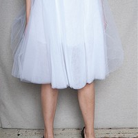 KToo USA Layered Tulle Midi Skirt - White