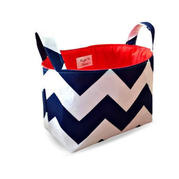 Navy Chevron Fabric Storage Tub/Organiser Bin/Storage Basket