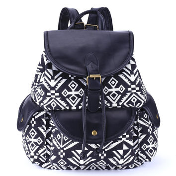 Women's Large Canvas Aztec Ethnic Daypack Backpack Travel Bag