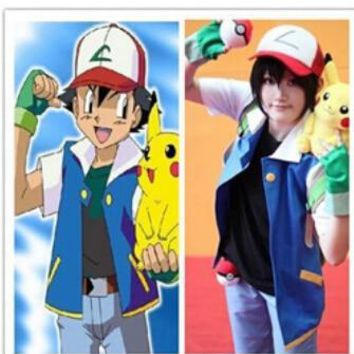 Promotion! Ash Ketchum Trainer Costume Cosplay Jacket +gloves+hatKawaii Pokemon go  AT_89_9
