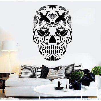Vinyl Wall Decal Calavera Sugar Skull Mexican Art Stickers Unique Gift (ig3852)