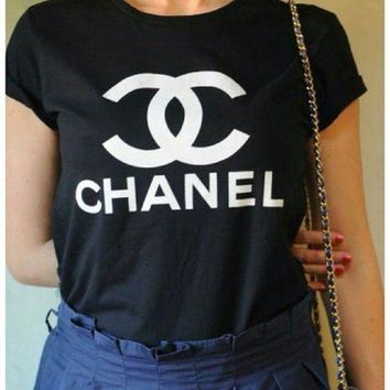 """CHANEL"" tide brand fashion printing T-shirt F"