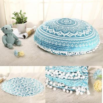 Retro Geometry Design Indian Mandala Floor Pillows Round Bohemian Cushion Cover Sofa Outdoor Throw Pillows Case Decorative A906