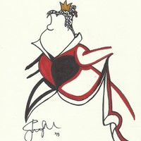 Queen of Hearts Zen Tangle Art Print by Jadie Miller