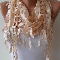 Tan Color Lace Shawl / Scarf with Lace Edge with by SwedishShop