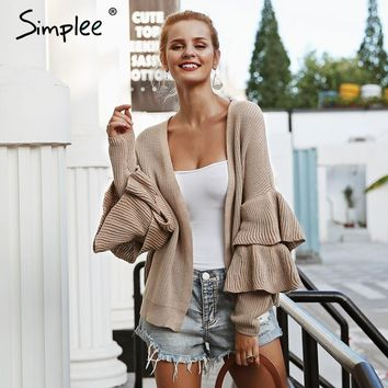 Simplee Ruffles simple khaki cardigan women Casual long sleeve fashion female sweater 2018 Autumn winter sexy outwear