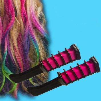 1 Piece New Hair Care Temporary Hair Dye Combs Semi Permanent Hair Color Chalk Powder With Comb 4 Colors Hair Multicolor Dye