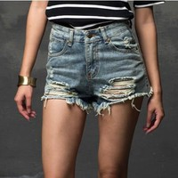 Plus Size Fashion Short Jeans  Summer Women High Waist Denim Shorts Frayed Hole Female Flash Short Pants XS-5XL Pantalones