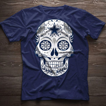 Dallas Cowboys TShirt, Sugar Skull Cowboys Shirt, Skeleton face , Day of the Dead, Dia de los Muertos