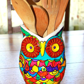 GORGEOUS doodled owl planter utensil holder porcelain pretty