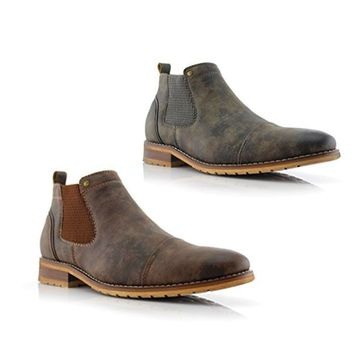 New Men's MFA-606325 Distressed Ankle High Chelsea Boots