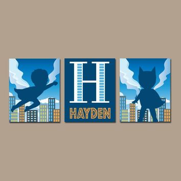 SUPERHERO Wall Art, CANVAS or Prints Boy Nursery Decor, Custom Boy Name, Big Boy Bedroom Wall Decor, Superhero Boy Decor, Set of 3 Art