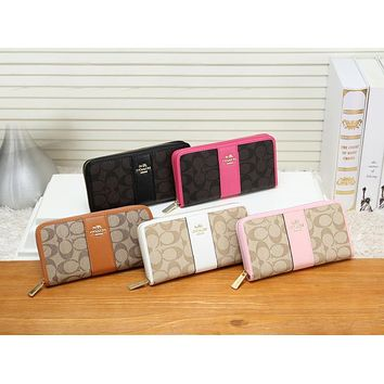 "Hot Sale ""Coach"" Popular Women Shopping Leather Zipper Wallet Purse"
