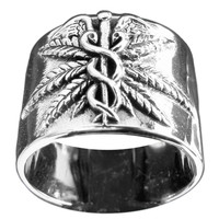 Medical Marijuana Ring Ganja Leaf Sterling Silver 925 Band Ring with Antiquated Finish