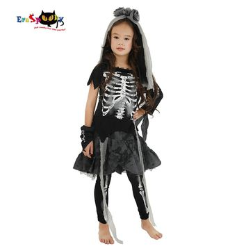 Eraspooky Halloween Costume For Kids Scary Skeleton Zombie Girls Dress Ghost Child Carnival Party Cosplay Headpiece Fancy Dress