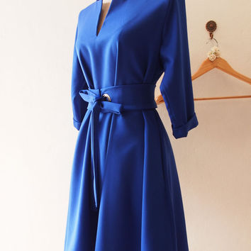 OOTD -Elbow Sleeve Dress, Pockets Dress, Plus Size Dress, Bright Royal Blue Loose Dress, Maternity Dress, Midi Dress - XS-XL,Custom