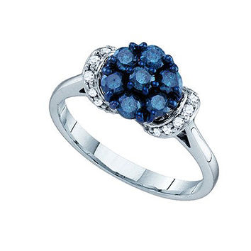 Blue Diamond Ladies Flower Ring in 10k White Gold 0.66 ctw