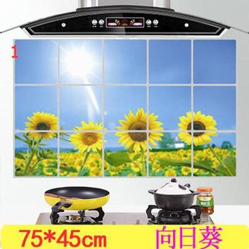 1Pcs kitchen Anti-smoke sticker Resistant to high aluminum foil tiles cabinet stickers Decorative wall stickers 7z-ca074