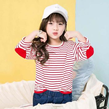 Girls Long Sleeved Striped Elbow Patched Blouse/Shirt