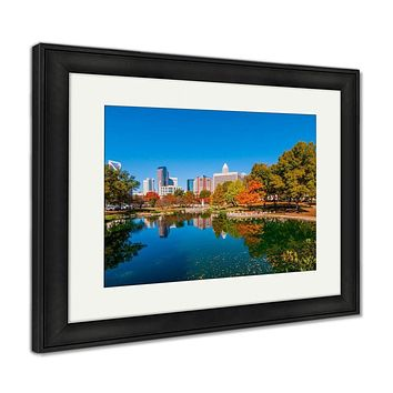 Framed Print, Charlotte City Skyline Autumn Season
