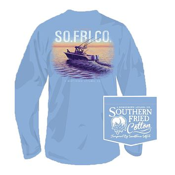 Open Seas Long Sleeve Tee in Faded Jeans by Southern Fried Cotton