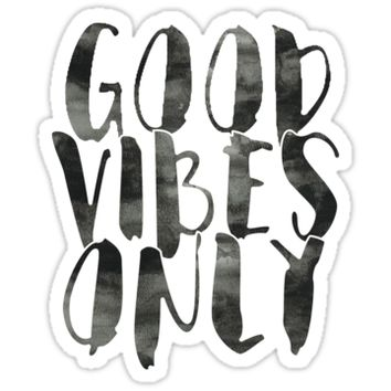 'Good Vibes Only | Black' Sticker by meg779