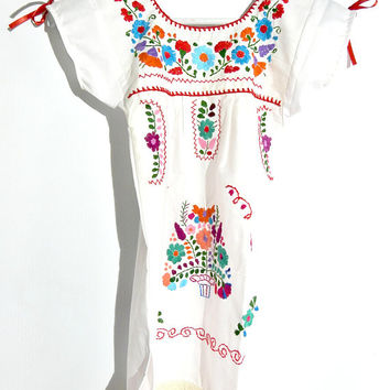 Mexican dress girls Bohemian girls dress Boho toddler Hipster Mexican girls Infant Kids South american Cinco de mayo White Hippie Maxi