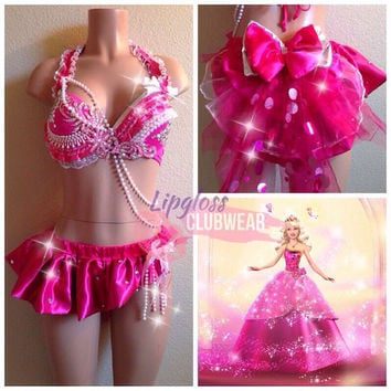 Barbie Inspired Rave Bra & Bottom, Rave Costume Outfit For EDC, Ultra Music, EDM Festivals, Tomorrowland, PLUR