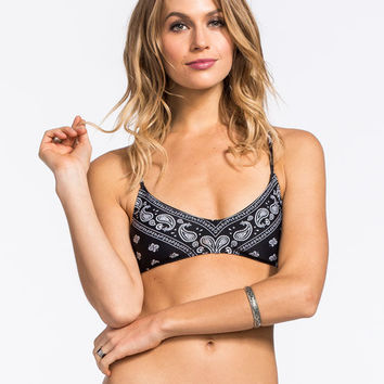 Metal Mulisha The Hood Lattice Crop Tank Bikini Top Black  In Sizes