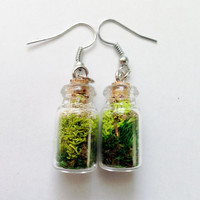 Tiny Glass Bottle Earrings Moss Green with Cork Fishook Dangle Style Spring Jewelry