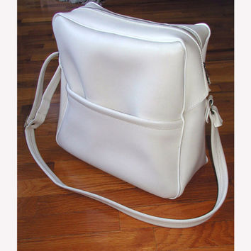 Travel Bag  Vintage Cream Messenger Bag Weekender