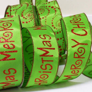 25-yd CUT wired Christmas ribbon decorations glittering sparkle red green Merry Christmas ribbon wreaths make Christmas wired ribbon bows
