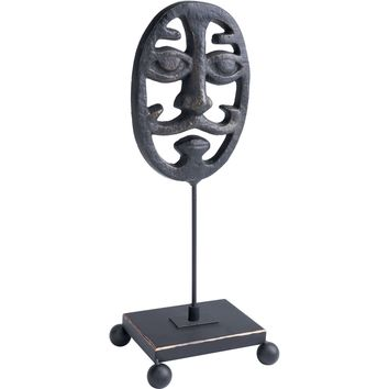 Dark Bronze Opera Mask Figurine