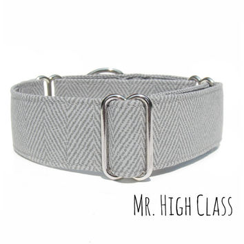 Grey Herringbone Dog Collar, Fancy Regal Gray Martingale, Buckle or Tag. 1 inch, 1.5 inch and 2 inches wide, Italian Greyhound, Whippet, Pug