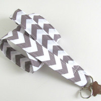 Lanyard ID Badge Holder Grey White Chevron Key Lanyard - Fabric Lanyard