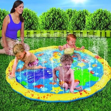 2018 Outdoor Beach Sprinkle 100CM Giant Inflatable Splash Play Mat Water Spray Play Kids Baby Children Water Fun Pool Accessory