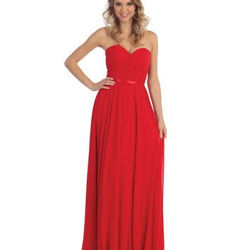 Red Strapless Chiffon Sweetheart Corset Gown 2015 Homecoming Dresses