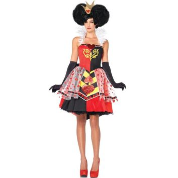 2017 New Halloween Adult Womens Poker Red Queen of Hearts Princess Costume Fancy Game Dress Alice In Wonderland Carnival Uniform