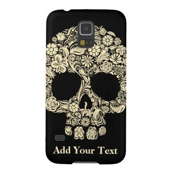 Monogram Black and White Floral Sugar Skull Galaxy S5 Case