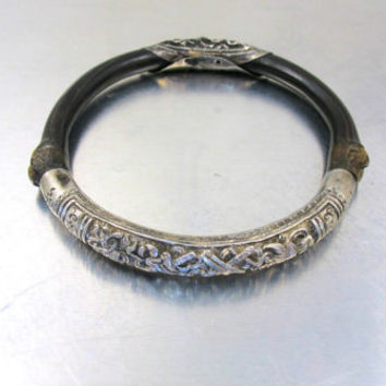 Antique Chinese Bamboo Rattan Sterling Bracelet, Antique Asian Jewelry, Chinese Artist Signed Ornate Silver Repousse Bamboo Bangle Bracelet