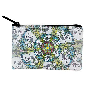 Mandala Trippy Stained Glass Panda Coin Purse