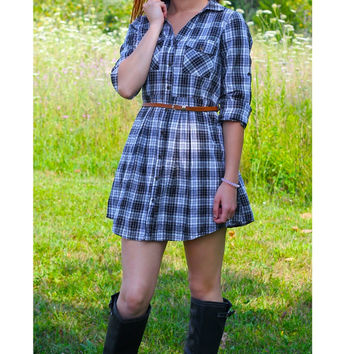 Plaid Belted Dress